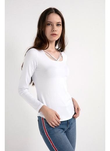 Tiffany&Tomato Uyaka İpli Uzun Kollu T-Shirt Beyaz